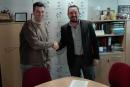 Jordi Orta, director de l'Institut Lauro i Juan Antonio Corchado, president del Patronat Municipal d'Esports