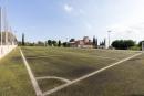 Vista general del camp de futbol de Llerona després de les reparacions